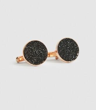 Reiss Luna - Swarovski Crystal Cufflinks in Rose Gold