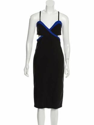 Thierry Mugler Sleeveless Midi Dress Black