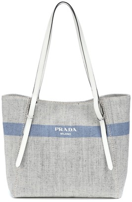 Prada Leather-trimmed canvas shopper
