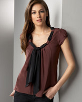 Andrea Tie-Neck Silk Blouse