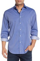 Thomas Dean Men's Classic Fit Stripe Sport Shirt