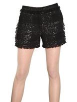 MSGM Glitter Cotton Viscose Tweed Shorts