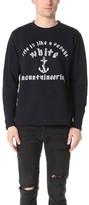 White Mountaineering Anchor Printed Fleece Lined Crew Sweatshirt