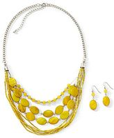JCPenney Yellow Beaded Necklace & Earring Set