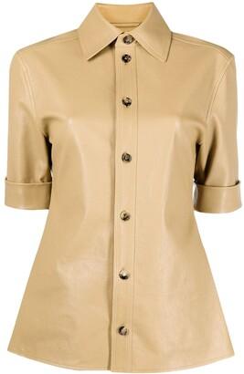 Bottega Veneta Short-Sleeve Leather Shirt