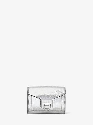 Michael Kors Manhattan Small Crackled Metallic Leather Wallet