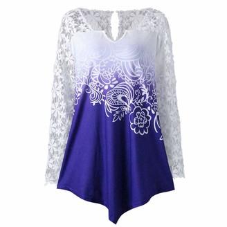 TUDUZ Newest Creative Design Womens Long Sleeve Printing Lace Patchwork T Shirt Casual Elegant Irregular Hem Jumper Blouse Tops (Blue L)