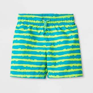 Cat & Jack Toddler Boys' Stripe Swim Trunks Green