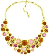 Kenneth Jay Lane Gold Plated, Pink & Amber Resin Cabochons Necklace
