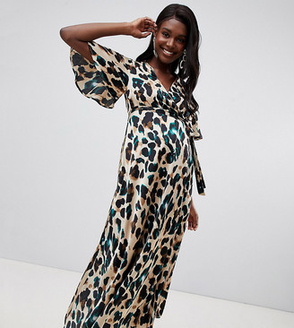 Queen Bee wrap front cap sleeve maxi dress in green leopard print