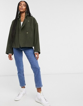 And other stories & recycled wool funnel neck wrap jacket in khaki