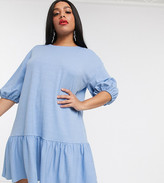 Asos DESIGN Curve textured smock dress with tiered hem in blue