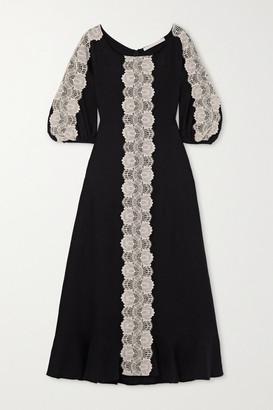 ANNA MASON Marella Crocheted Lace-trimmed Linen Maxi Dress - Black