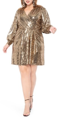 ELOQUII Long Sleeve Sequin Cocktail Dress