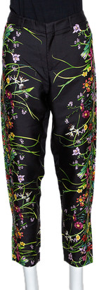 Gucci Black Floral Print Silk Tapered Pants S