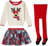 Bonnie Jean Baby Girl Reindeer Sweater, Plaid Skirt & Tights Set