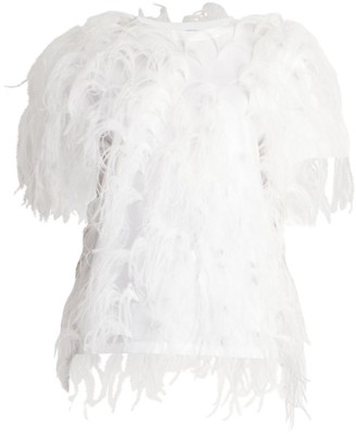 Valentino Ostrich Feather Jersey T-Shirt