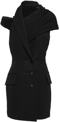 Alexander Wang Cutout Wool-twill And Jersey Mini Dress