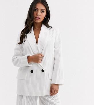 ASOS DESIGN petite cream cord suit blazer