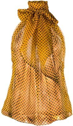 Saint Laurent Semi-Sheer Polka Dot Silk Top