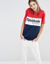 Reebok Classics Panel Logo Oversized T-Shirt In Red And Navy