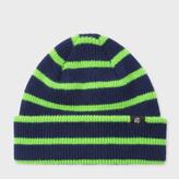 Paul Smith Men's Neon Green Stripe Lambswool Beanie Hat