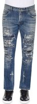 Dolce & Gabbana Super-Distressed Slim-Fit Denim Jeans, Medium Blue