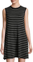 Autumn Cashmere Sleeveless Striped Cashmere Sweater Dress, Black/Cement