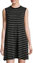 Autumn Cashmere Sleeveless Striped Cashmere Sweater Dress, Black/Cement