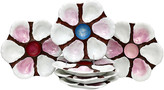One Kings Lane Vintage Hand-Painted French Oyster Plates - Set of 6 - Rose Victoria - multi