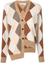 Pringle asymmetric argyle knit cardigan