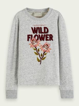 Scotch & Soda Crew neck sweatshirt with combination artwork | Girls