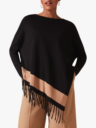 Phase Eight Athena Tassle Stripe Knit Shrug, Black/Camel