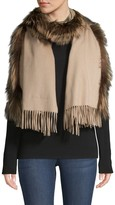 Salvatore Ferragamo Fox Fur-Trim Cashmere Shawl