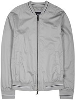Armani Jeans Grey Embroidered Cotton Bomber Jacket
