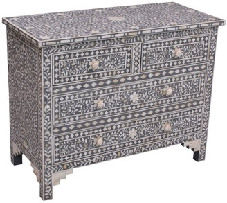 Empress Homewares Musi Florentine Bone Inlay 4 Drawer Chest Grey