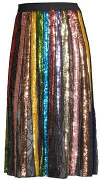 Alice + Olivia Women's Tianna Striped Sequin Midi Skirt - Black Multi - Size 8