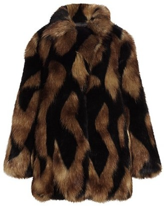 7 For All Mankind Chevron Faux Fur Coat