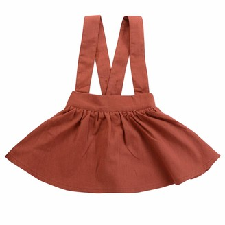 Haokaini Baby Girls Cotton Suspender Skirts Infant Ruffled Casual Strap Sundress Clothes for Toddler Brown