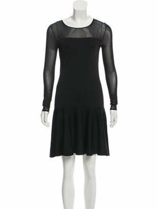 Ralph Lauren Collection Sheer-Paneled Silk Dress w/ Tags Black
