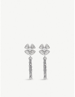 Bvlgari Fiorever 18ct white-gold and diamond drop earrings