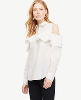 Ann Taylor Cold Shoulder Flounce Shirt