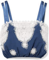 Miguelina Hannah Versailles Broderie Anglaise-trimmed Cotton-voile Top - Blue