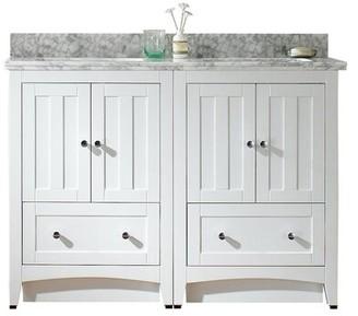 "American Imaginations 48"" Double Bathroom Vanity Set Base Finish: White, Top Finish: Bianca Carara, Faucet Mount: Single"