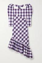 Pushbutton - Asymmetric Ruffled Checked Cotton-poplin Midi Dress - Purple