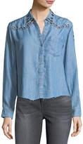 Rails Clayton Button-Front Chambray Shirt w/ Grommets