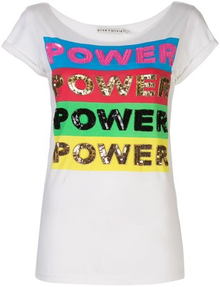 Alice + Olivia power embellished T-shirt