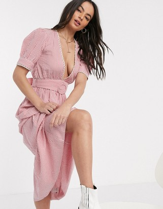 Neon Rose belted midaxi dress with plunge front and lace trim in gingham