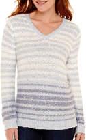 Liz Claiborne Long-Sleeve V-Neck Striped Sequin Sweater