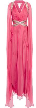 Alberta Ferretti Cape-effect Embellished Silk-chiffon Gown